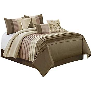 Amazon Com 7 Piece Eden Patchwork And Pintuck Comforter
