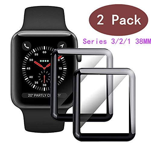 EcoPestuGo Compatible [2 - Pack] Apple Watch 38mm Tempered Glass Screen Protector, EcoPestuGo Anti-Scratch Full Coverage Scratch-Proof Screen Film Compatible 38mm Series 1/2/3(Black)