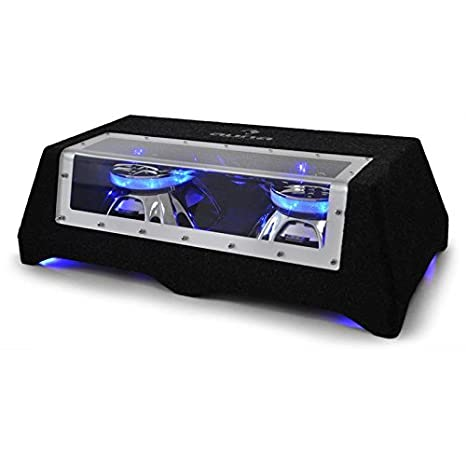 Auna CB550-50 Subwoofer coche 30 cm (12') 2 x 800 W (Elegante efecto de luz en color azul iridiscente, 2 bobinas de voz de 2', incluye cable para efectos de luz) 2 bobinas de voz de 2 4260528638079