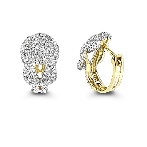 Luxurman Ladies 14K Natural 0.75 Ctw Diamond Love Knot Hoop Shiny Earrings (Yellow Gold)