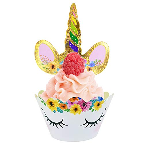 Supreona Unicorn Cupcake Toppers Wrappers Happy Birthday Party Cake Decoration (Set of 24)