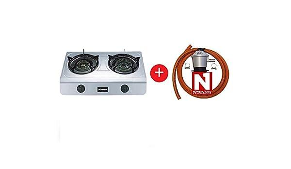ElectrodomesticosN1 Pack Hornillo a Gas Orbegozo fo 2700 INOX, 2 Fuegos + Regulador de Gas butano HVG, Tubo Manguera 0, 8 Metros, Abrazaderas: Amazon.es: Jardín