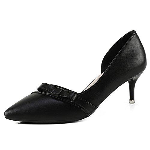 Aisun Damen Elegant Spitz Zehen Cut Out Schleife Kitten Heel Pumps Sandale Schwarz
