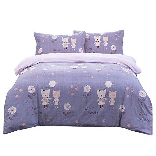 Senmiya Kids Duvet Cover Set Kitt Bedding Set 100 Percent Cotton Duvet Cover Twin XL + 2 Pillow Shams, Bunk Bed Girls Comforter Set Lightweight Down Comforter Cover (Duvet Xl Covers Twin)
