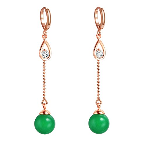 Cute and Fancy Gold-Tone Magical Green Simulated Jade and Snow White Sparkling Crystals Dangling (Green Jade Crystal Earring)