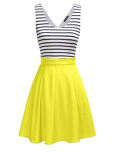 Omeya Womens Sexy Open Back Cocktail Slim Black White Striped Mini Dress (S, Yellow)