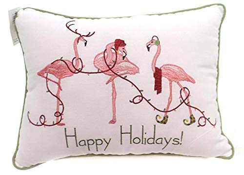 C&F Home 12x16-inch Embroidered Christmas Decorative Pillow, Happy Holidays Flamingos - Holiday Flamingo