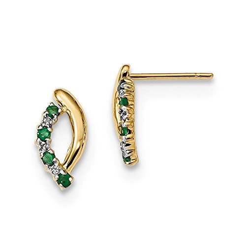 5.96mm 14k Gold With Diamond and Emerald Post Earrings by JewelryWeb