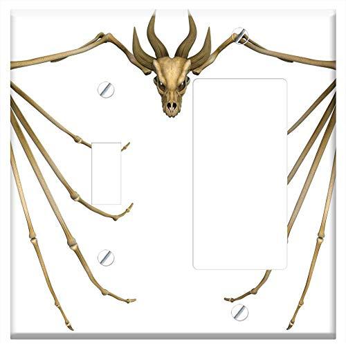 1-Toggle 1-Rocker/GFCI Combination Wall Plate Cover - Dragon Bone Skull Monster Animal Skeleton ()