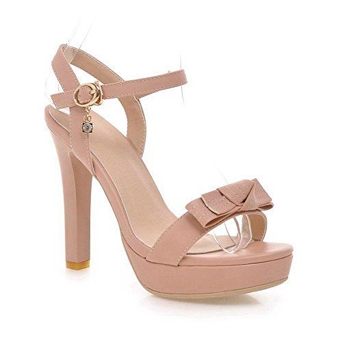 AllhqFashion Women's Buckle Open-Toe High Heels PU Solid Sandals Pink