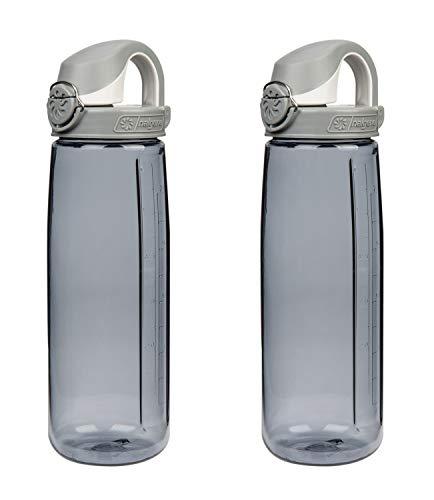 Water Bottle Fly - Nalgene Tritan On The Fly Water Bottle, Smoke W/ White Cap Set of 2, 24Oz