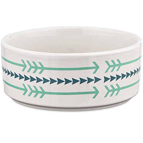 Harmony Ceramic Arrow Dog Bowl, 1 Cup, Small, Multi-Color (Trendy Dog Bowls)