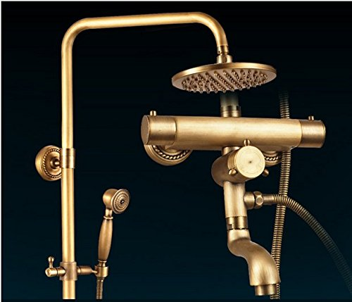 "Brass Thermostatic Shower Faucet Mixing Valve Dual Handle: GOWE High-end Wall Mounted 8"" Rainfall Shower Faucet Set"