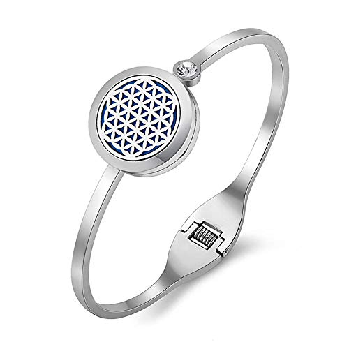 AZORA Essential Oil Diffuser Bracelet Stainless Steel Slide Chain Locket Charm with 8 Refill Pads Jewelry Gift (Vintage Cross) ()