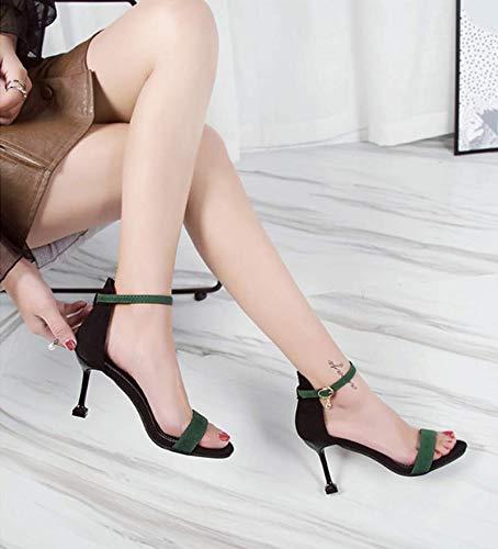 Dedos de los Los 7cm Ocho pies Sandalias Tacones Altos Verde de Tacones Delgada KOKQSX Treinta Gamuza y g51wqPx