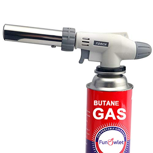 Butane Torch Kitchen Blow Lighter - Culinary Torches Chef Cooking Professional Adjustable Flame with Reverse Use for Creme, Brulee, BBQ, Baking, Jewelry by FunOwlet (Butane Fuel Not Included) (Butane Gas Torch)