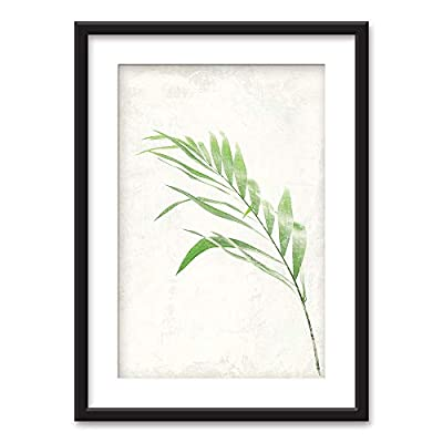 Framed Bamboo Leaf Black Picture Frames White Matting...