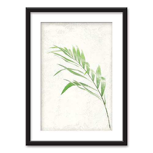 (wall26 - Framed Wall Art - Bamboo Leaf - Black Picture Frames White Matting - 23x31 inches)