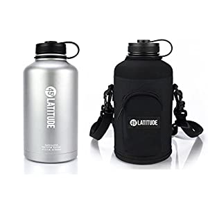45 Degree Latitude Beer Growler & Protective Carrier Tote Package –Fill Your Growler At Your Favorite Pub & Effortless Carry It With Our Carrying Case Stainless Steel Growler 64 oz Stone Gray & Black