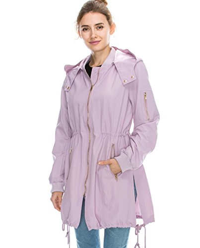 JEZEEL Women's Zipper Pocket Detail Hooded Waterproof Jacket. DC0166(XL,Lavender)