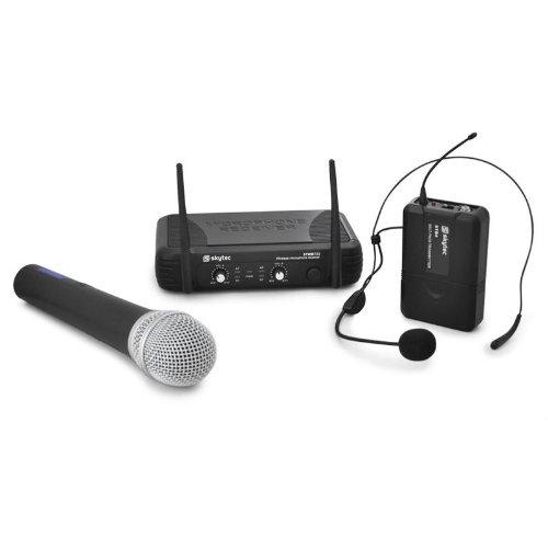 Skytec UHF Funkmikrofon Komplettset (Freisprech-Headset + Gesang/Sprachmikrofon + Receiver) STWM722