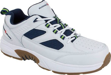 Rugged Shark Men's Marlin 3 Athletic Lace-Up Boat Shoe (White/Navy, M 9.5)