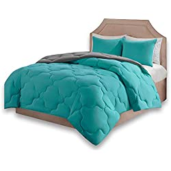 Comfort Spaces – Vixie Reversible Goose Down Alternative Comforter Mini Set - 3 Piece – Teal and Grey – Stitched Geometrical Pattern – Full/Queen Size, Includes 1 Comforter, 2 Shams