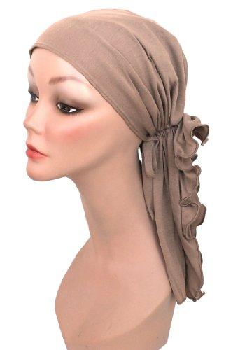 Turban Plus Bohemian Scarf in Taupe Cotton Knit