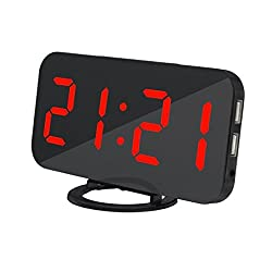 Ultra Thin Modern Snooze and Time Setting LED Digital Decorate Alarm Clock With Phone Charger For Home Decor (RED)