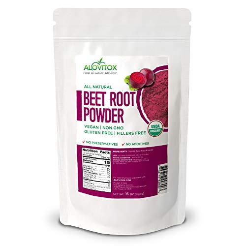 Alovitox Organic Beet Root Powder, 16 oz – Raw, Vegan, Gluten Free Super Food Supplement | Naturally Pure Organic Nitric Oxide Boosting Beetroot Supplement. Keto, Paleo, Vegan Superfood Great For Heal