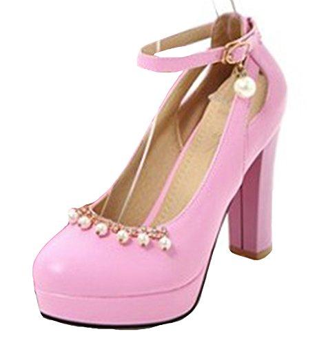Easemax Womens Dressy High Chunky Heels Pumps Scarpe Con Perline Viola
