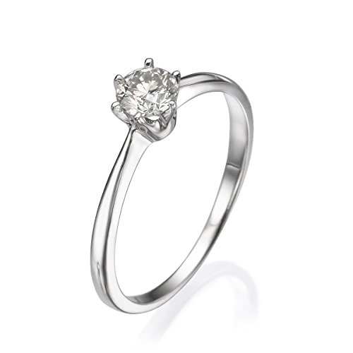 Diamond mueseum 14 K Or Blanc Bague - 1,60 Gr