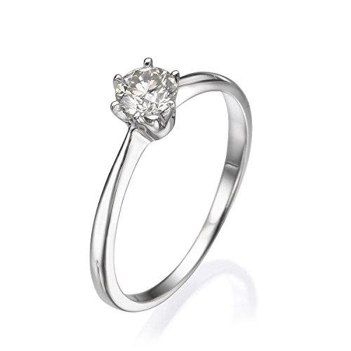 Diamond mueseum 14K Or Blanc Bague-1,60Gr