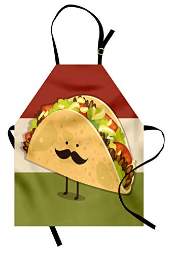 Ambesonne Food Apron, Mexican Taco Figure with Mustached Face Rolled with Veggies Humor Comic Childish Art, Unisex Kitchen Bib Apron with Adjustable Neck for Cooking Baking Gardening, Paprika Green
