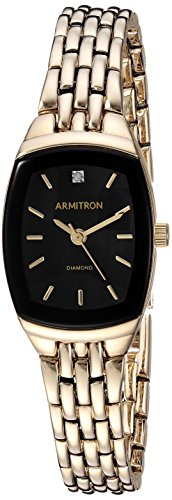 - Armitron Women's 75/5195BKGP Diamond Accented Black Dial Gold-Tone Bracelet Watch