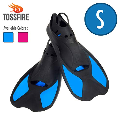 Comfecto Swim Fins Short Floating Training Swimming Fins for Size S Ankle Width 2.9 Inch Rubber Flippers for Swimming Scuba Diving Snorkeling Watersports, Blue