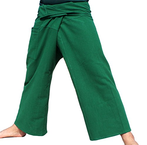 RaanPahMuang Plain Thick Muang Cotton Fisherman Wrap Tall Pants Plus, XX-Large, Pakistan Green