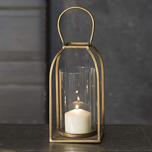 Attractive and Graceful Large Tribeca Gold - Antique Brass Metal Lantern Candle Holder with Clear Glass, Rustic Indoor/Outdoor Light for Your Home Decor - Modern Rustic Vintage Farmhouse Style (Lantern Candle Holders Tall)
