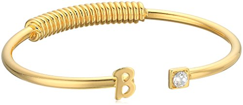 B C Gold Bracelets - 1928 Jewelry 14K Gold-Dipped Initial B and Clear Crystal Accent C-Cuff Bracelet