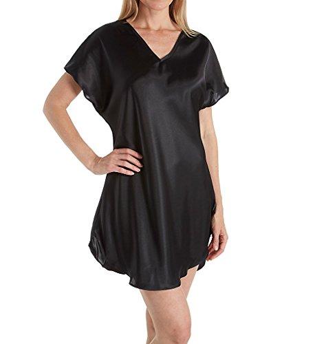 Amanda Rich Bias Cut Satin T-Shirt Gown (412-40) 2X/Black
