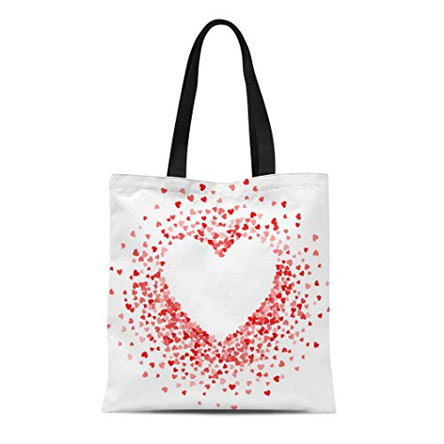 Semtomn Canvas Tote Bag Shoulder Bags Red of Scatter Confetti in Shape Heart Border Women's Handle Shoulder Tote Shopper Handbag ()