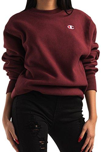 Graphic Crew Neck Sweatshirt - Champion LIFE Men's Reverse Weave Sweatshirt, Team Maroon, Medium