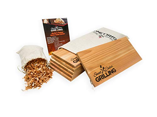 Sweet Western Red Cedar Planks for Grilling Salmon | 6 Pack of Premium Smooth Topped, Cedar Grilling Planks | Instructions & Recipe Card | 5.25 x 11.5