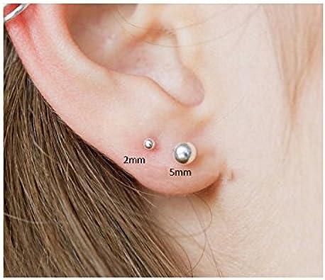SILBERTALE 925 Sterling Silver Ball Stud Earrings for Women Men 2mm-8mm Simple Polished Ball Ear Studs