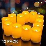 Juego de 12velas sin llama parpadeante realista sin perfume–AMagic Melted Edge marfil velas LED con llama amarillo ámbar, decorativa para velas para día festivo, D 3.8cm, pilas incluidas, Melted Edge -12 PACK, D1.5'x H1.9'