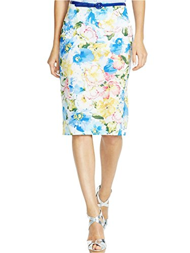 RALPH LAUREN Polo Blue Floral Cotton Sateen Stretch Pencil Skirt-Size (Floral Sateen Skirt)