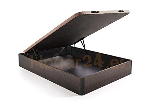 HOGAR 24 Canape Abatible Madera Gran Capacidad con Tapa 3D y Valvulas de Transpiracion, con Esquineras en Madera Maciza, Color Wengue, 150X190
