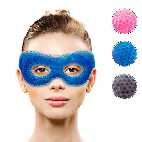 Gel Eye Mask with Eye Holes- Hot Cold Compress Pack Eye Therapy | Cooling Eye Mask for Puffy Eyes, Dry Eyes, Headaches, Migraines, Dark Circles, Sinus - Reusable Eye Face Mask | Ergo Gel Bead (Blue)