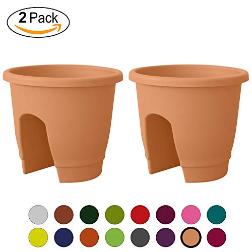 - ALMI Balcony Deck Rail Planter Box with Drainage Trays, [2 Pack] Bloomers Railing Round Pot, Drainage Holes, Weatherproof Resin Planter, 12 Inch, Indoor & Outdoor, Impruneta