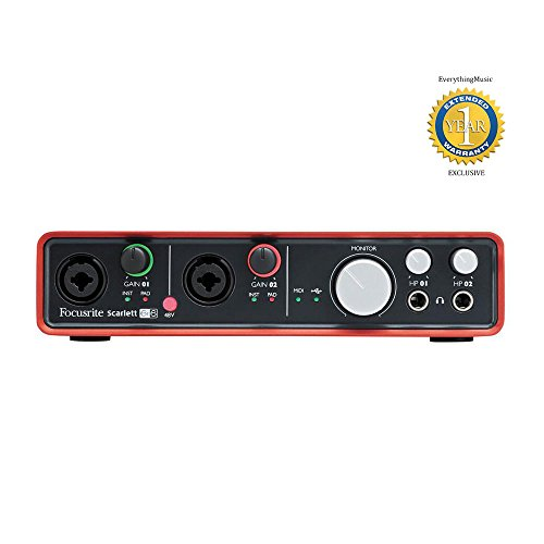 Focusrite Scarlett 6i6 6-in 6-out USB 2.0 Audio Interface with 1 Year Free Extended Warranty
